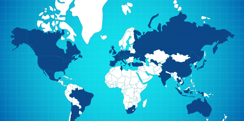 Map monde de nos agents ou zone d'activité